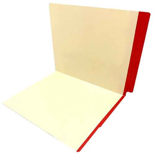 11 pt manila RED Color Band folder, letter size, full color reinforced end tab and front color band on edge of front panel. - 350/Carton