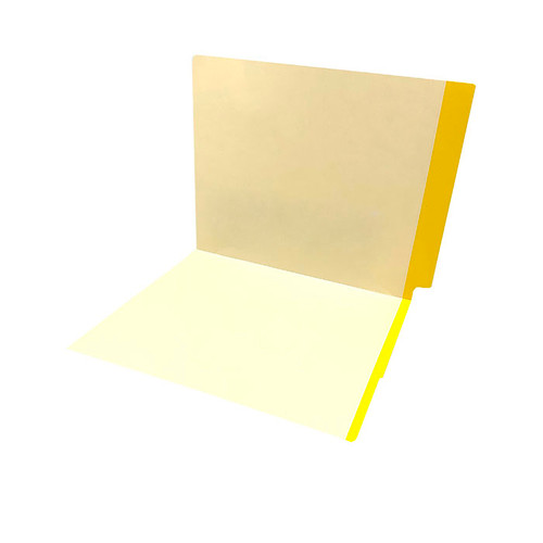 11 pt manila YELLOW Color Band folder, letter size, full color reinforced end tab and front color band on edge of front panel. - 350/Carton
