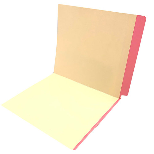 11 pt manila PINK Color Band folder, letter size, full color reinforced end tab and front color band on edge of front panel. - 350/Carton
