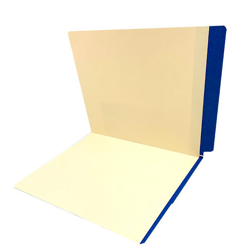 11 pt manila DARK BLUE color band folder, letter size, full color reinforced end tab and front color band on edge of front panel. - 350/Carton