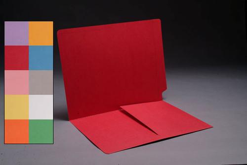 RED Color Folder, End Tab, Letter Size with 1/2 Pocket Inside Front, 11 Pt. Stock -Box of 50