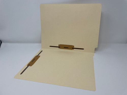 """End Tab File Folder - 11 Pt. Manila Stock, Letter Size, Single Ply Tab, 2"""" Bonded Fasteners in Positions 3 & 5, 50/Box"""