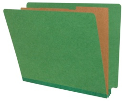 """Classification Folder - Side Tab, Type III Moss Green Color, LETTER Size with 2"""" Fasteners in Positions 1 & 3 and 1"""" duo fasteners on Dividers,  2"""" Expansion, 10/Box"""