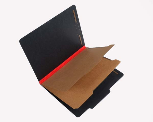 """Black Pressboard Classification Folder - 25 PT. Black, 2/5 Cut Right of Center Top Tab, Letter Size, 2 Dividers, 2"""" Red Tyvek Expansion, Fasteners in Positions 1 & 3, Divider has 1"""" Duo Fasteners, 15/Box"""