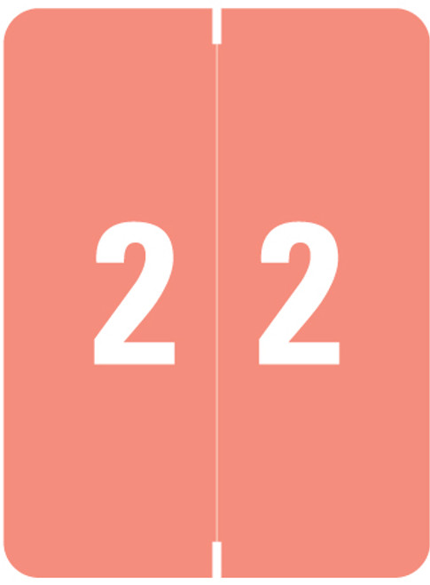 """Smead Numeric Label - XLCC  Series - Number """"2"""" - Pink - 2"""" H x 1-1/2"""" W - 500/Roll"""