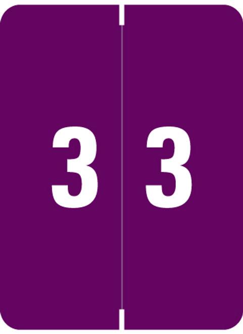 "Smead Numeric Label - XLCC Series - Number ""3"" - Purple - 2"" H x 1-1/2"" W - 500/Roll"