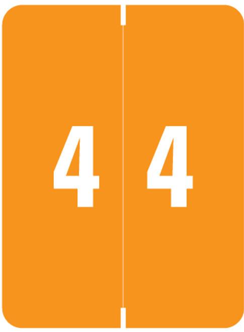 "Smead Numeric Label - XLCC Series - Number ""4"" - Orange - 2"" H x 1-1/2"" W - 500/Roll"