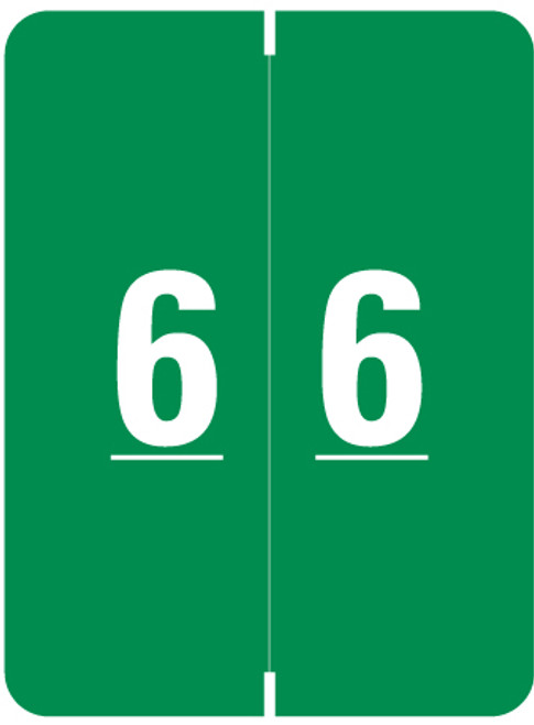 """Smead Numeric Label - XLCC Series - Number """"6"""" - Green - 2"""" H x 1-1/2"""" W - 500/Roll"""