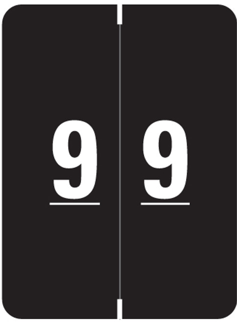 "Smead Numeric Label - XLCC Series - Number ""9"" - Black - 2"" H x 1-1/2"" W - 500/"