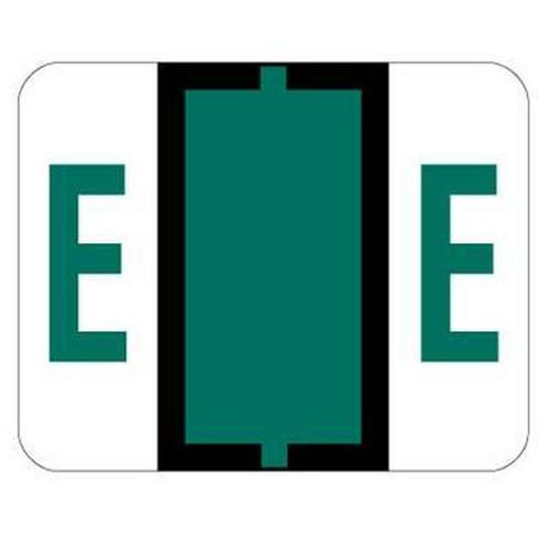 "Jeter Series 6500 Alpha Labels - Letter ""E"" - Dark Green - 1-1/4"" W x 1"" H - 500/Roll"
