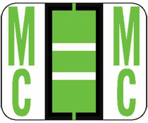 "Jeter Series 6500 Alpha Labels - Letter ""Mc"" - Light Green - 1-1/4"" W x 1"" H - 500/Roll"