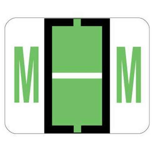 "Jeter Series 6500 Alpha Labels - Letter ""M"" - Light Green - 1-1/4"" W x 1"" H - 500/Roll"