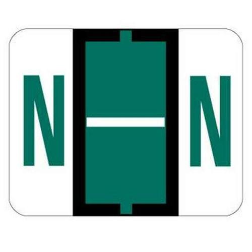 "Jeter Series 6500 Alpha Labels - Letter ""N"" - Dark Green - 1-1/4"" W x 1"" H - 500/Roll"