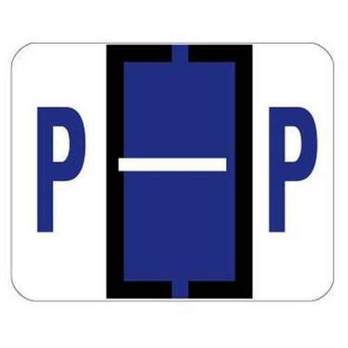 "Jeter Series 6500 Alpha Labels - Letter ""P"" - Purple - 1-1/4"" W x 1"" H - 500/Roll"