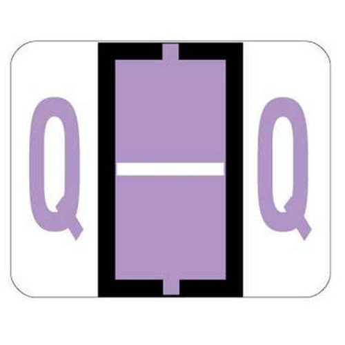 "Jeter Series 6500 Alpha Labels - Letter ""Q"" - Lavender - 1-1/4"" W x 1"" H - 500/Roll"