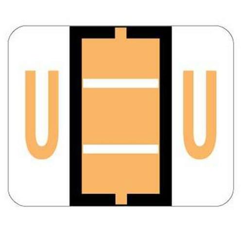 """Jeter Series 6500 Alpha Labels - Letter """"U"""" - Light Orange - 1-1/4"""" W x 1"""" H - 500/Roll"""