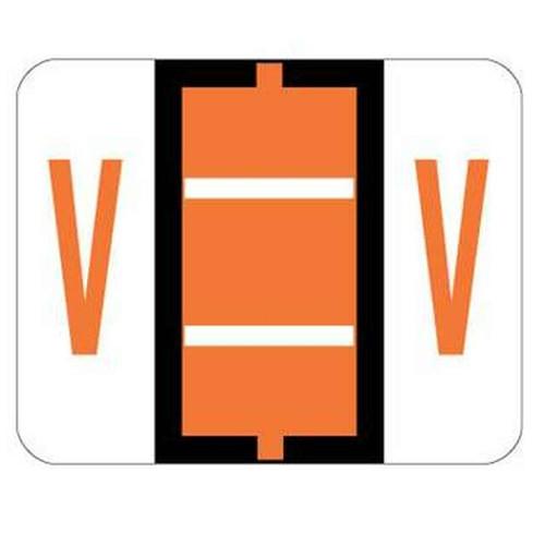 """Jeter Series 6500 Alpha Labels - Letter """"V"""" - Dark Orange - 1-1/4"""" W x 1"""" H - 500/Roll"""