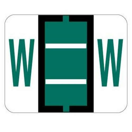 "Jeter Series 6500 Alpha Labels - Letter ""W"" - Dark Green - 1-1/4"" W x 1"" H - 500/Roll"