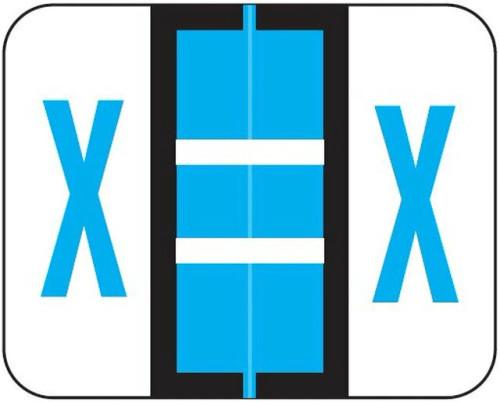 "Jeter Series 6500 Alpha Labels - Letter ""X"" - Blue - 1-1/4"" W x 1"" H - 500/Roll"