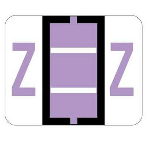 """Jeter Series 6500 Alpha Labels - Letter """"Z"""" - Lavender - 1-1/4"""" W x 1"""" H - 500/Roll"""