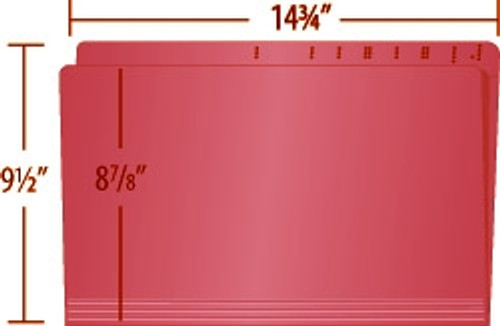 RED Top Tab File Folder With Fastener in Position 1 - Legal Size -  11 pt -  Reinforced Straight Cut Top Tab with Printed Label Marks  - 50/Box