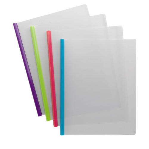 Smead Poly Report Cover with Sliding Bar, Letter Size, 25 Sheet Capacity, Assorted Colors,  12 per Pack (86048) - Pack of 10