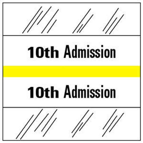 """Tabbies 14510 - ADMISSION INDEX TABS - 10TH ADMISSION - YELLOW - 1-1/2"""" H X 1-1/2"""" W - 100/PACK"""