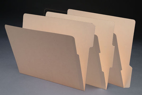 Side Tab File Folders with 1/3 Cut Assorted Tabs - 2-Ply Tabs, Letter Size Folder, 11 Pt. Manila, Fasteners in Positions 1 & 3, 50/Box