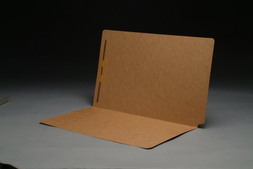 SFI Compatible LEGAL Size 17 PT. Brown Kraft End Tab Folders with Fastener in Position 1 - Drop Front - Full Cut End Tab -  50/Box