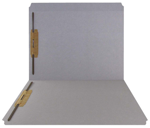Gray Top Tab Folder - Smead Compatible - 11Pt. Top Tab Reinforced Full Cut - Bonded Fasteners 1&3 - Letter Size -50/Box