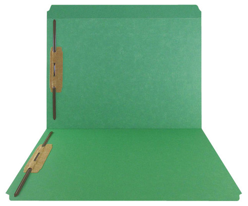 Green Top Tab Folder - Smead Compatible - 11Pt. Top Tab Reinforced Full Cut - Bonded Fasteners 1&3 - Letter Size - 50/Box