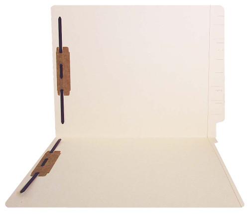 Jeter Compatible End-Tab Folder - 14Pt. Manila End-Tab Letter Full Cut - Reinforced Tab - Bonded Fasteners Position 1&3 - 50/BX