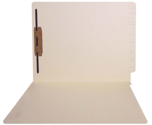 Jeter Compatible End-Tab Folder - 14Pt. Manila End-Tab Letter Full Cut- Single Ply Tab - Bonded Fasteners Position 1 - 50/BX