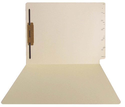 GBS Compatible Folders - 15pt. Manila End-Tab Letter Full Cut Single Ply Tab - Bonded Fastener Position 1 - 100/BX
