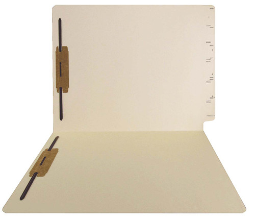 GBS Compatible Folders - 15pt. Manila End-Tab Letter Full Cut Single Ply Tab - Bonded Fastener Positions 1&3 - 50/BX