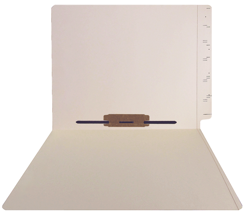 GBS Compatible Folders - 11pt. Manila End-Tab Letter  Size with Full Cut Reinforced Tab - Bonded Fastener Position 5 - Printed Score Lines on Tab -100/BX