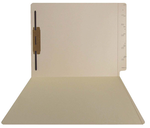 GBS Compatible Folders - 15pt. Manila End-Tab Letter Full Cut Reinforced Tab - Bonded Fastener Position 1 - 50/BX