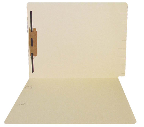Thompson Compatible Folders - 14pt. Manila End-Tab Letter Full Cut Single Ply Tab - Bonded Fastener Position 1 - 100/BX