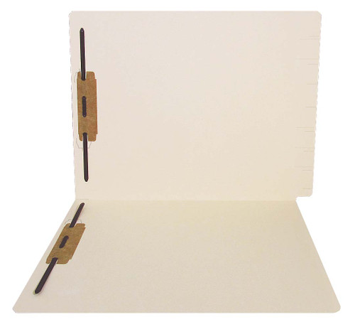 Thompson Compatible Folders - 14pt. Manila End-Tab Letter Full Cut Reinforced Tab - Bonded Fastener Positions 1&3 - 50/BX
