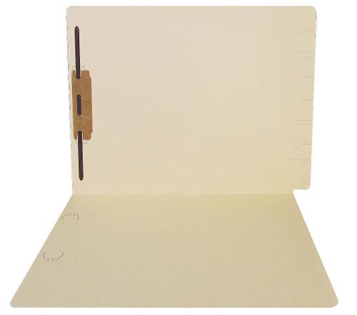 Thompson Compatible Folders - 14pt. Manila End-Tab Letter Full Cut Reinforced Tab - Bonded Fastener Position 1 - 50/BX
