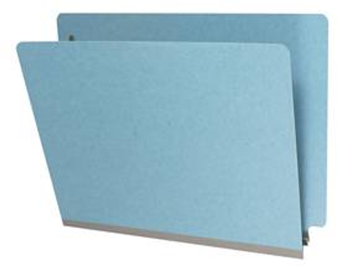 """Blue End Tab Type III 25 pt. Pressboard Folder - 2"""" Expansion with Dove Grey Tyvek Tape  - Letter Size - No Fasteners - 25/Box"""