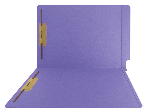 Purple End Tab Folder with Fasteners - Smead Compatible - 14Pt.  Letter Size Full Cut  Reinforced Tab - Bonded Fasteners Positions 1&3 - 50/BX
