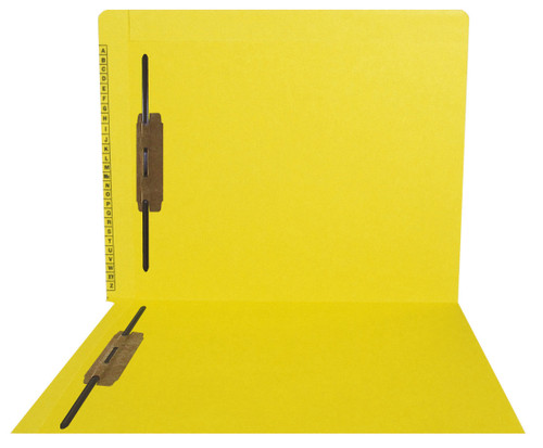 Kardex Compatible End-Tab Folder - 11Pt. Yellow End-Tab Letter Folder - Extended Reinforced Tab Top and Side Tab - Printed Alpha Scale - Bonded Fasteners in Positions 1&3 - 50/BX