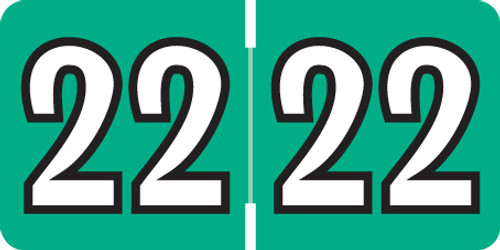 """2022 Year Label on Sheets - Colwell Match  - 1/2"""" H x 1"""" W  - Teal Colored Labels - 225/Pack"""