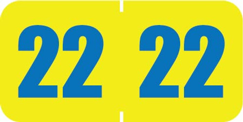 """POS 2022 Yearband Label - Yellow with Blue Numbers -  3/4"""" H  x 1-1/2"""" W  - PBYV Series - 500/Roll"""