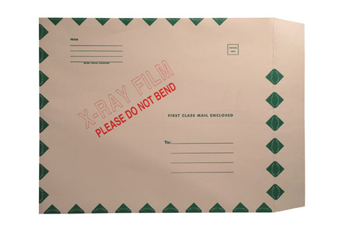"X-Ray Film Mailers, 11 pt Manila, 15"" x 18"", Green Diamond Border, X-Ray Imprint, Peel and Seal (Carton of 50)"