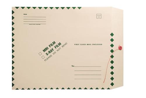 "X-Ray Film Mailers, 11 pt Manila, 15"" x 18"", Green Diamond Border, String and Button Closure (Carton of 50)"