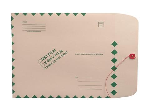 "X-Ray Film Mailers, 11 pt Manila, 11"" x 13"", Green Diamond Border, String and Button Closure (Carton of 50)"