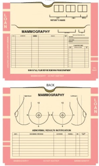 """""""Mammography Jackets"""" - PINK  - 14"""" x 11"""" with  3/4"""" Expansion - Manila -  Pink Print - 200/bx"""