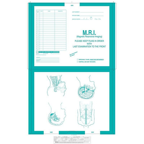 """""""MRI"""" Category Insert Jackets - Turquoise #326 - Open Top - 14-1/2"""" x 17-1/2"""" (Carton of 250)"""